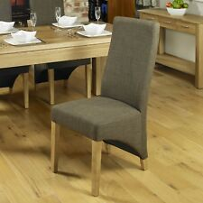 Baumhaus Aston Oak Dining Chair Upholstered in Hazlenut (pack of Two)