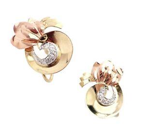 Rare Vintage Tiffany & Co 14k Yellow Rose Gold Diamond Screwback Earrings