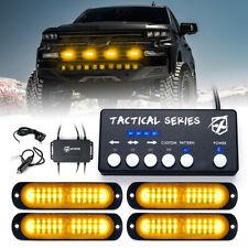 Xprite 4 Pack Amber Led Strobe Lights Kit Car Truck Grille Emergency Warning
