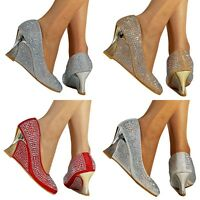 NEW Ladies Diamante Low Mid Wedge Heel Party Wedding Court Shoes Pumps Size