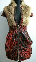 Max Mara Red Black Animal Print Mini Dress Zip Up Fur Collar Medium UK 12 Italy