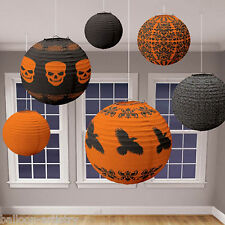 6 Assorted Haunted Halloween Hanging Lantern Paper Ball Decorations