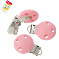 5Pcs Wooden Dummy Clip Metal Pacifier Mixed Colour Clips Wood Baby Round