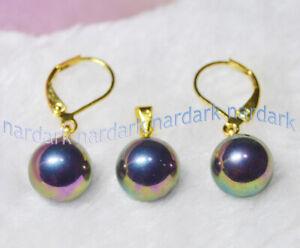 Wholesale Beauty 9 Set 10mm Multi-Color Shell Pearl Round Earrings Pendant Set