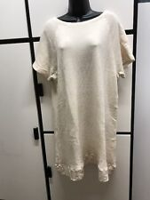Veritecoeur OS Cotton Hemp Speckled Bone Bateau Neck Raglan Short Sleeve Dress