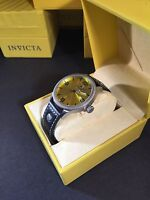 Invicta 1462 Mens Vintage Collection  Leather Strap Yellow Dial Watch