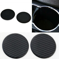 2X Non-Slip Carbon Fiber Look Silicone Mat Car Auto Water Cup Mat Accessories FT