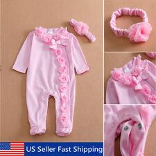 22'' Handmade Pink Reborn Newborn Baby Girl Doll Clothes Jumpsuits + Headdress