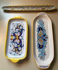 Italian Faience Pottery Set/3 Trays Vietri/Deruta/Meridian Ceramichr