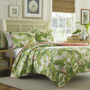 Tommy Bahama Aregada Dock Ecru Quilt 2 PC Twin Quilt Set Tropical Palm Trees