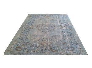 "8'1"" x 5'5""  Vintage  light blue SKY PALE BLUE    Overdyed rug carpet tapis"