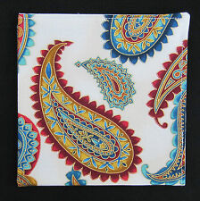 Mens Ivory, Amber, Teal & Gold Large Paisley Pocket Square/Kerchief/Hanky