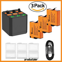 3Pack 1500mAh Batteries & Triple Charger For GoPro Hero 7/6/5 - 2018 - AHDBT-501