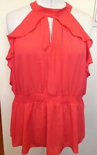 CITY CHIC BNWT Orange High Neck Peekaboo Ruffle Side Elastic Waist Party Top L