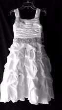 Girls Sz 8 Communion Flower Girl Pageant Long Ruffles Rhinestone White Dress NWT