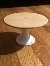 MINIATURE HANDMADE MARIANNE MODELLE WHITE ENAMELED METAL Wood Table Round