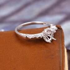 925 Silver Semi Mount 5x7 mm Oval Setting Men Semi Mount Wedding Ring Polished