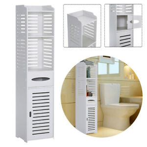 Bathroom Toilet Slim Cabinet Storage Shelf Tall Cupboard Unit Corner Organiser