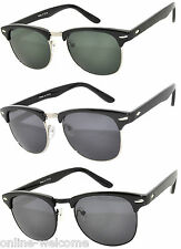 Set of 3 Classic Half Frame Semi Rimless Horn Rim Sunglasses Rimmed Silver Smoke