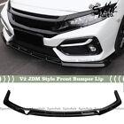 Fit 16-2021 Honda Civic Hatchback Si Gloss Black V2 Jdm Style Front Bumper Lip
