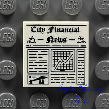 NEW Lego 2x2 White Minifig Newspaper FLAT TILE - Printed w/City Financial News