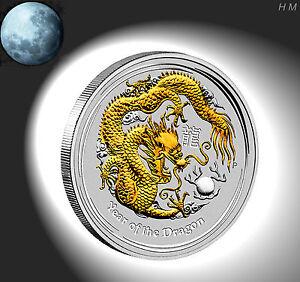 Lunar 2 Silber / Silver 1 oz Drache / Dragon vergoldet / gilded / Gold-Appl +COA