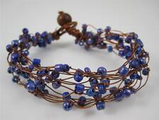 "Fashion Copper Wire Floating Purple Glass Bead Bracelet Bangle Cuff 8"" Ethnic"