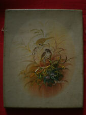 Sympathique huile sur toile representant un couple d'oiseaux