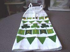 St Patricks Day Luck Irish  Clover Shamrock Tie Crochet Top Kitchen Towel