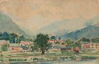 1926 ORIGINAL WATERCOLOUR PAINTING of EUROPEAN COUNTRY VILLAGE POSTCARD - USED