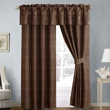 Luxur Janet Lined Curtain Set of 2 Panels with 1 Valance and 2 Tie Backs