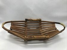 New Listing10.5� Flexible Oblong Bamboo Basket With Handles