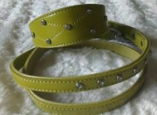 Hand Made leather WHIPPET Dog Collar & Lead 15 inch Small Lime Green Diamanté