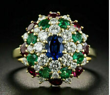 3.50 Ct Diamond Sapphire Emerald and Ruby Multi Color Ring 18K Yellow Gold Over
