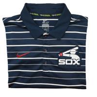 Nike Men's Small Blue Chicago White Sox Stripe Performance Polo Dri Fit MLB BSBL