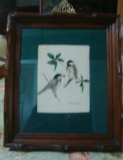VINTAGE AMERICAN FOLK ART, THEOREM PAINTING, CHICKADEES ,  IN ANTIQUE FRAME