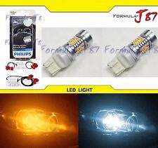 LED Switchback Light S White Amber 7443 Two Bulbs Resistor Front Turn Signal DRL