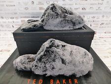 TED BAKER Mule Slipper Mens Juosh UK 8 Black Grey Cosy Fur Slippers Boxed R£70