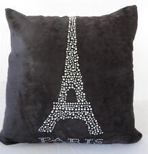 PARIS Eiffel Tower Diamantes Black Crushed Velvet Cushion Cover 45cm
