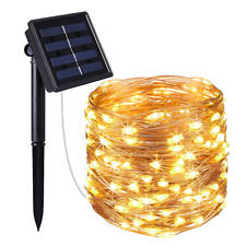 Warm White 10M 33Ft 100 LED Solar Powered Copper Wire String Fairy Light Outdoor