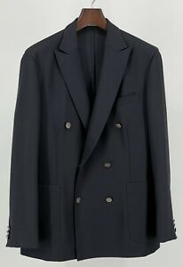 """Boglioli """"Dover"""" Double-Breasted Patch Pocket Unlined Navy Wool Blazer 42R"""