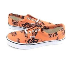 Vans Off the Wall Era Logo Mix Tangerine Black Shoes Mens 11 Canvas Sneakers