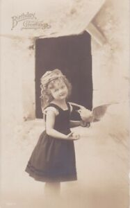 BIRTHDAY GREETINGS Postcard - RPPC * Young Girl with Dove * Printed in Germany