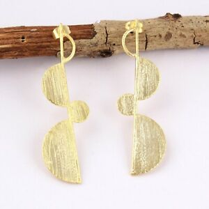 Designer Brushed Finish Yellow Gold Plated Push-Back Drop Stud Earrings