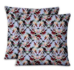 S4Sassy Geometric Shapes & Baccara Rose Bed Room Cushion Cover 2Pcs-FL-609H