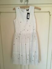 M & S Girls party Bridesmaid dress, white, embellished, age 12-13, Brand New