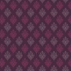 Dolls House Miniature Purple Heraldic Diamond Wallpaper