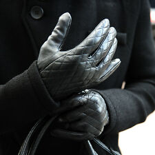 ByTheR Men's Diamond Shape Luxury Quilting Chic Leather Touch Screen Gloves