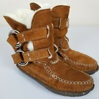 QUODDY of Maine Shearling Suede Lined Moccasin Ring Boots Womens 7 Hand Stitched