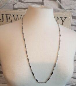 Vintage Sarah Coventry long silver tone Chain curve twist Link Necklace unworn